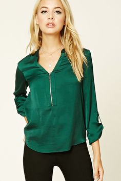 Satin Zip-Front Blouse | Forever 21 - 2000234796