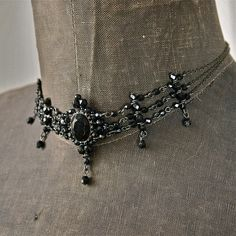 80's Black Czech Dark Shadows Gothic Victorian Steampunk Crystal Bead Choker Necklace Adjustable. $28.00, via Etsy. Ideal for http://wardrobeshop.com/content/40141-laced-gown-nataya-dress