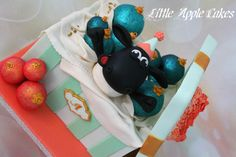 Ornament gift box cake with Timmy Time surprise - Cake by Little Apple Cakes