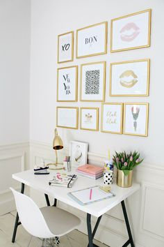 #espace de travail #workingspace #homeoffice #working girl #minimaliste #blanc #or #doré #gold #white