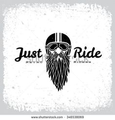 Vintage label with bearded man in a helmet on grunge background for t-shirt print, poster, emblem. Vector illustration.