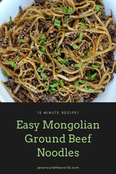 This Mongolian ground beef noodles recipe turned out to be one of the most fantastic dishes I have made and comes together in only 15 minutes. It's a great meal for those nights when you are short on time and need a quick dinner recipe Ground Beef Recipes For Dinner, Quick Dinner Recipes, Easy Recipes, Ground Beef Meals, Healthy Ground Beef, Ground Venison, Icing Recipes, Beef Dishes, Pasta Dishes
