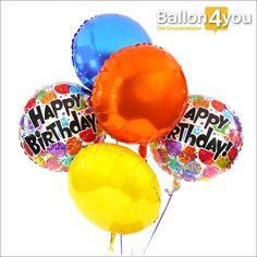 Ballonbukett XXL - Rundballon Happy Birthday bunt     Lassen Sie das Geburtstagskind hochschweben! Mit diesem XXL-Bukett sollte dies kein Problem sein. Im Gegenteil.  Mit den fünf bunten Ballons schwebt die beschenkte Person empor und erhält garantiert genügend Auftrieb für das neue Lebensjahr.