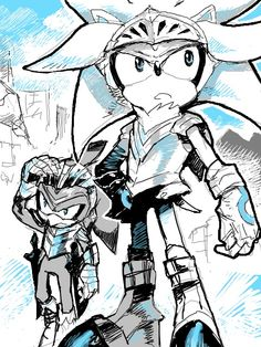 Silver the Hedgehog/Galahad and Jet the Hawk cool picture!