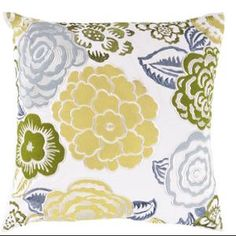 "22"" Botanical Bliss White and Naples Yellow Decorative Throw Pillow Down Filler"