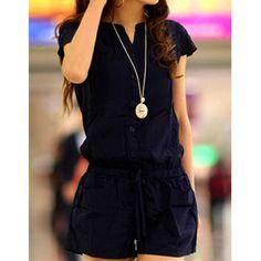 Casual V-Neck Short Sleeve Solid Color Pocket Design Women's Romper
