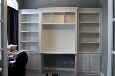 Built-in bookshelves and desk using Ikea Hemnes with crown molding. Built-in bookshelves and desk using Ikea Hemnes with crown Bookcase Desk, Bookshelves Built In, Billy Bookcases, Hemnes Bookcase, Desk Cabinet, Cabinet Ideas, Ikea Built In, Built In Desk, Ikea Small Bedroom