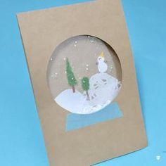 スノードームカードの作り方!カードにキラキラの雪を降らせよう!   季節の工作アイデア集- こうさくポケット Diy Christmas Cards, Christmas Crafts For Kids, Xmas Crafts, Classroom Wall Decor, Straw Crafts, Chinese New Year Crafts, Flower Mobile, New Year's Crafts, Bubble Art