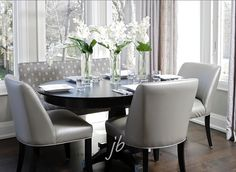 Love the modern look of the black and silver #EatingArea  #Interiors
