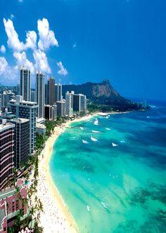 Honolulu  We were on the other side of Diamond Head on our honeymoon.