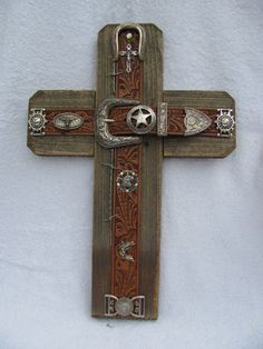 handcrafted WESTERN cross aged cedar wood leather by AnnDanCes, $70.00