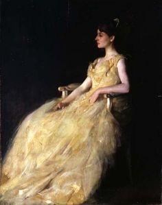 petitpoulailler:  artemisdreaming: 1888 Thomas Wilmer Dewing (Amer 1851-1938) ~Lady in Yellow