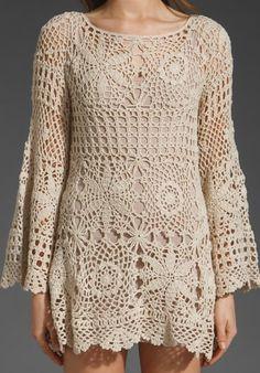Maravillosa túnica tejida a crochet ✿⊱╮✿⊱╮✿⊱╮
