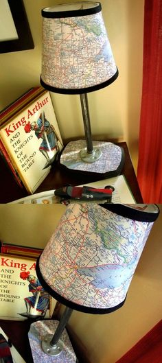 You can build a map lamp of your very own by following this tutorial from Mod Podger David - use maps from your fave places to make it personal!