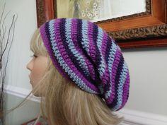 Crochet Stripe Indigo, Magenta and Royal Purple Rasta, Slouch, Snood. by yarnnscents on Etsy