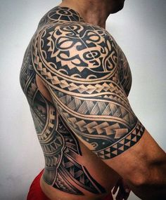 Unique Hawaiian Male Tribal Tattoos Half Sleeve #hawaiiantattoossleeve #hawaiiantattoostraditional