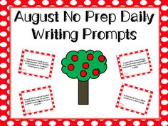 This easy to use writing set will help students practice their writing throughout the month of August. The student journals allow for daily independent practice and the task cards work well for center activities.   This packet includes: +one printable student journal containing 30 journal prompts as well as extra writing paper for students that need extra space +32 task card prompts (same as the journal prompts plus two bonus prompts) that can be used for center activities