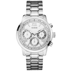 Guess Silver Feminine Classic Sport Watch - Women's (€100) ❤ liked on Polyvore featuring jewelry, watches, silver, guess watches, roman numeral watches, silver watches, silver jewelry and water resistant watches