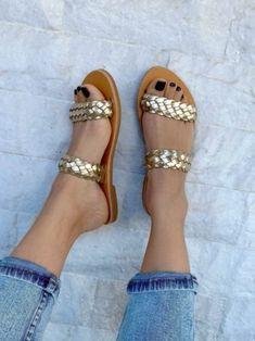 Slide Sandals, Flat Sandals, Greek Sandals, Black Leather Sandals, Summer Shoes, Womens Flats, Handmade Products, Style, Greek Design