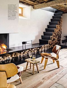 Charmant Escalier Modern Fireplace, Fireplace Mantles, Fireplace Design, Fireplaces, Firewood  Storage, Stair