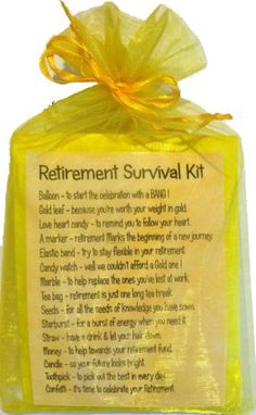 The more skills you discover, the more self reliant you are and the greater your opportunities for survival ended up being. Here we are going to discuss some standard survival skills and teach you the. Retirement Survival Kit, Retirement Party Gifts, Survival Kit Gifts, Retirement Celebration, Retirement Party Decorations, Retirement Quotes, Retirement Ideas, Survival Supplies, Early Retirement