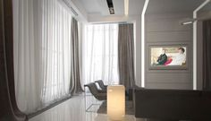 Wall of curtains with sheers