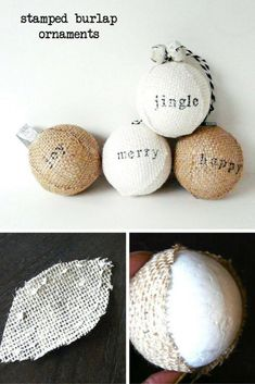 DIY burlap Christmas stamped ornaments crafts idea. This decor will beautifully complement your tree or wreath. Even works for wedding decor.