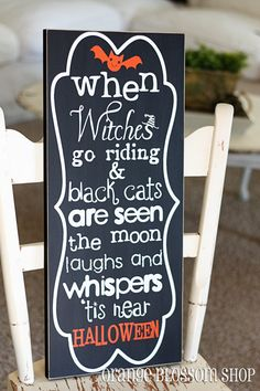 When Witches Go Riding adorable wooden by orangeblossomshopaz, $25.00