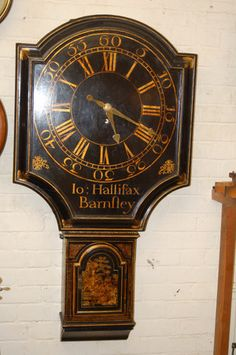 Tavern clock or lacquered 'Act of Parliament' antique 8 day wall clock by Joseph…