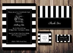Parisian Inspired Black & White Striped DIY Printable Bachelorette Party Invitation by PaperworkEnvy, $22.50 Includes Matching: Invitation, Thank You Card, Favor Tag & Return Address Label
