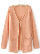 Pink Long Sleeve Sequined Pockets Cardigan Sweater $35.2