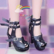 "Straps Studs High-Heel Sandals Shoes Black for 22"" Tonner American Model dolls"