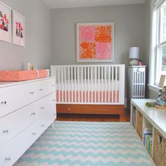 Grey nursery -- like the coral accents