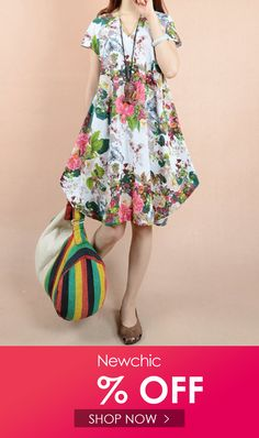 df0e40a2698b Cheap best O-NEWE O-NEWE Vintage Flower Printed Short Sleeve V-Neck Dress  on Newchic, there is always a plus size print dresse suits you!