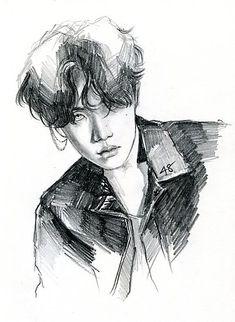 Jhope hoseok kpop fanart bts - sticker by paulina Kpop Fanart, Sketches Of Love, Drawing Sketches, Love Sketch, Kpop Drawings, Hoseok Bts, Jhope Bts, Taehyung, Bts Fans