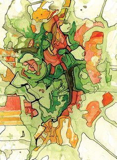 Mate' Cartography Art Print by Justin Manocchia. Like this idea, it makes a map quite abstract...