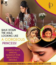Walk Down The Aisle, Looking Like a #Gorgeous #Princess! @Feminaplus #Bridal #Makeup for Beautiful #Brides.  Book your slot now @ 0172 4622884 (Chd), 4025050 (PKL) & 2444244 (Ambala)