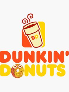 """""""Red and yellow logo Dunkin Donuts """" Sticker by MimieTrouvetou Red And Yellow Logo, Donut Logo, Comic Font, Dunkin Donuts, Balloons, Bubbles, Stickers, Logos, Creative"""