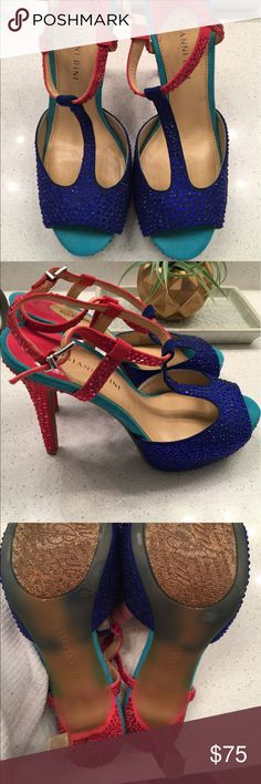Gianni Bini Rhinestone Heels-turquoise, pink, blue Gianni Bini Rhinestone Heels worn 2 times. No toe marks or scuffs, great condition! I do not have the box, but they are stored on shoe shelf so no wear and tear. Gianni Bini Shoes Heels