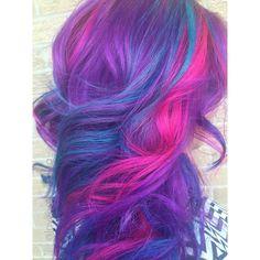 Kenra Color Creative work by Nubia Bonilla. #PinkHair #PurpleHair #BlueHair