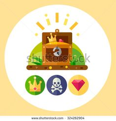 Pirate treasure vector illustration set: treasure chest, gold, crown, jolly roger icon, ruby stone. Flat vector illustration set. Stock Vector. - stock vector