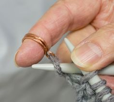 What are you knitting? Using this knitting ring helps with tension, eases finger strain n easy to use. Vera custom makes every ring to fit fit your finger.