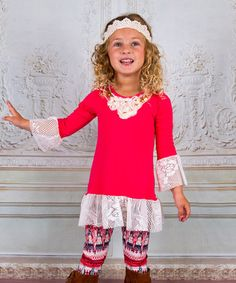 Loving this Coral & Cream Ruffle Top & Leggings - Toddler & Girls on #zulily! #zulilyfinds