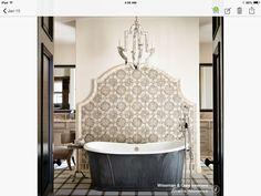 Behind tub