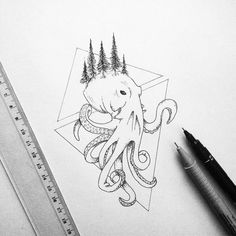 Geometric Octopus #art #drawing #illustration #geometric #sketch #dotwork #octopus #ink #pen #draw #illustrator Octopus Tattoo Design, Octopus Tattoos, Octopus Art, Octopus Sketch, Geometric Drawing, Street Art Graffiti, Sketches, Sketch Art, Geometric Tattoos