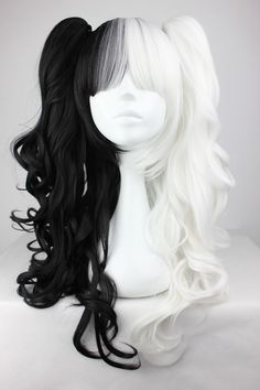 70cm/60cm Long White and Black Mixed Beautiful lolita wig Anime Wig