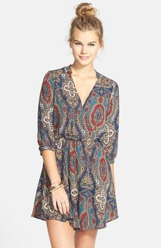 Free shipping and returns on Lush 'Kendal' Paisley Print Surplice Faux Wrap Dress (Juniors) at Nordstrom.com. A banded neck and cuffs add chic sophistication to a faux-wrap dress with a soft, flowy silhouette.