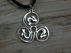 925 Sterling Silber, Großes Drachen-Triskele, Triskel,keltischer Ketten-Anhänger