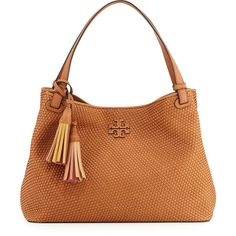 Tory Burch Thea Woven Leather Tote Bag (28,535 DOP) ❤ liked on Polyvore featuring bags, handbags, tote bags, peanut, handbags totes, zippered tote bag, tote purse, white tote handbags and tory burch purse