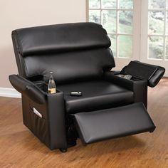 Extra Wide Leather-Look Power-Lift Chair with Storage Arms   Extra Large Chairs & Seating   Brylanehome